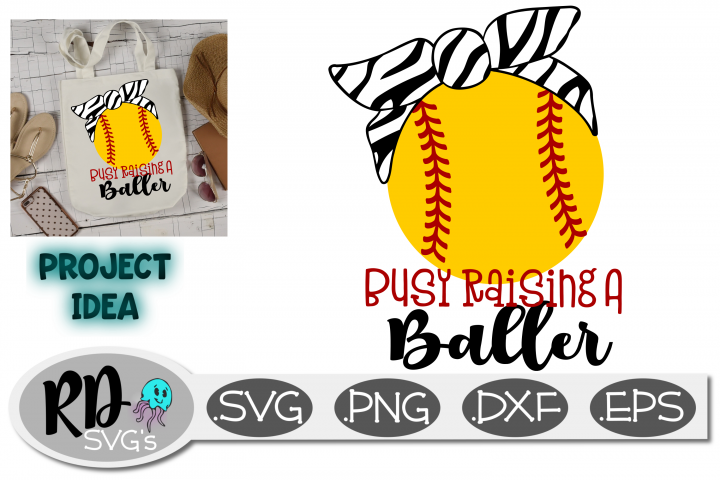 Busy Raising Ballers - Softball Tiger Stripe Bandana SVG