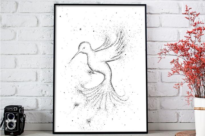 Bird Black and White Art, A1, SVG