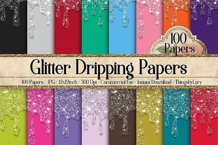 100 Glitter Liquid Dripping glitter flowing Digital Papers