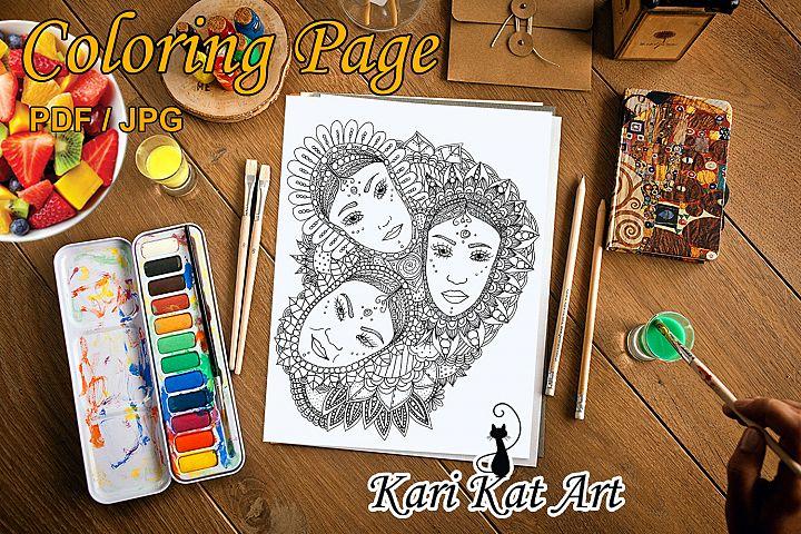 Floral Triad - Printable coloring page - Digital Stamp