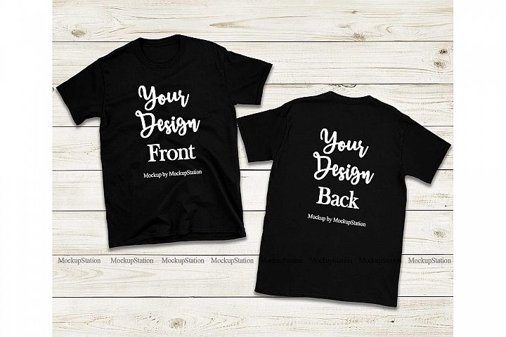 Front & Back Black Tshirt Mockup, Gildan 64000 Shirt Mock Up