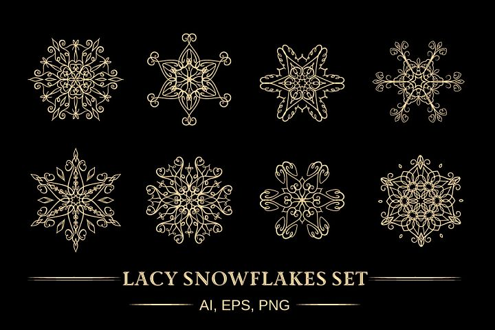 Vector lacy snowflakes set