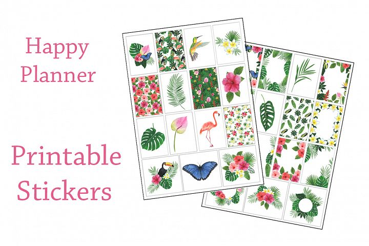 Stickers Printable Watercolor Tropics