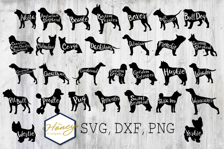 Dog Breed Bundle SVG PNG DXF Dog Breed Lover Cut File Vector