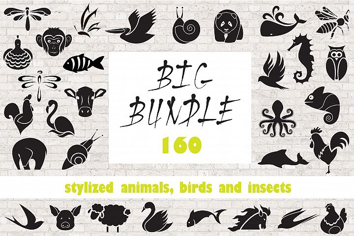 Stylized animals, birds and insects.