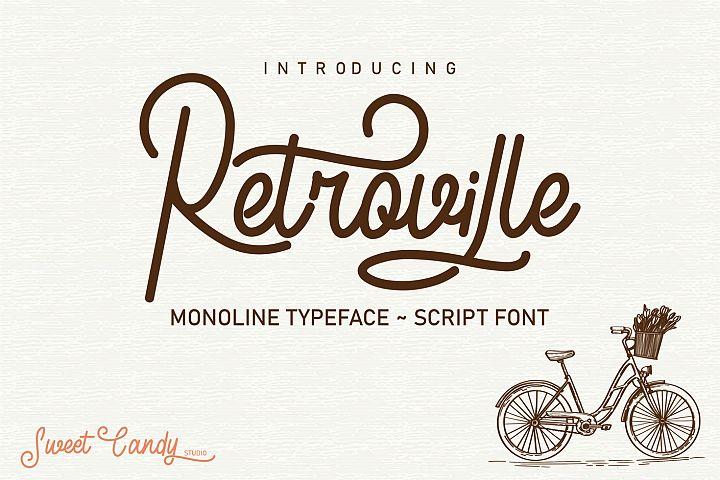 Retroville Monoline Typeface - Script Font