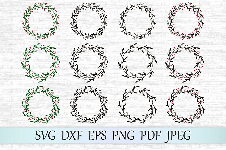 Christmas wreath svg, Christmas svg, Holly wreath svg