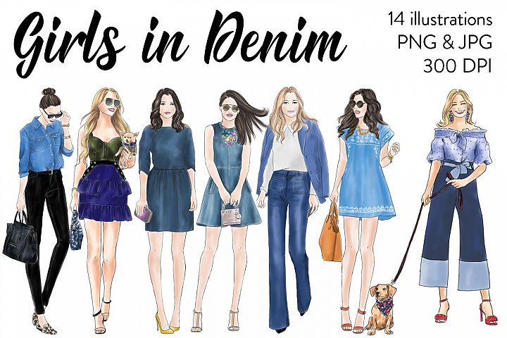 Girls in Denim - Watercolor fashion clipart