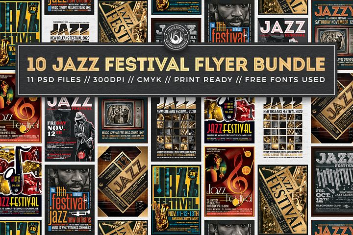 10 Jazz Festival Flyer Bundle