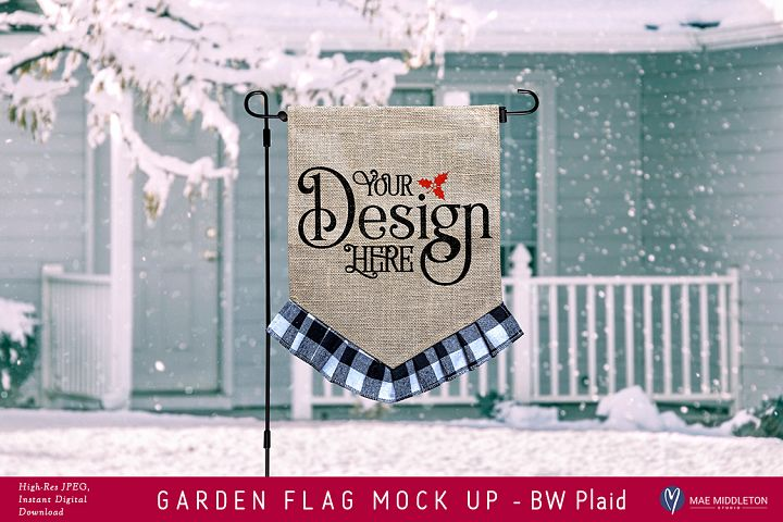 Garden Flag mock up for winter or Christmas - BW Plaid