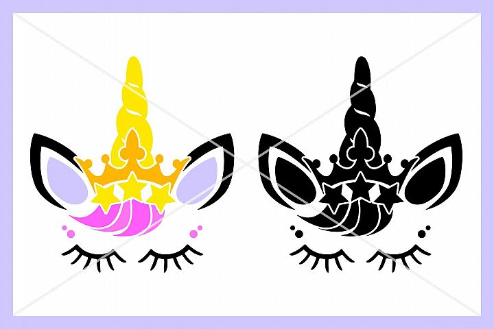 Unicorn Crown SVG, Eyelashes, Horn, Silhouette Cameo, Cricut