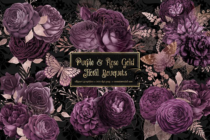 Purple and Rose Gold Floral Bouquets