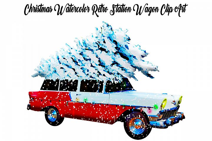 Christmas Watercolor Retro Station Wagon with Snow Clip Art