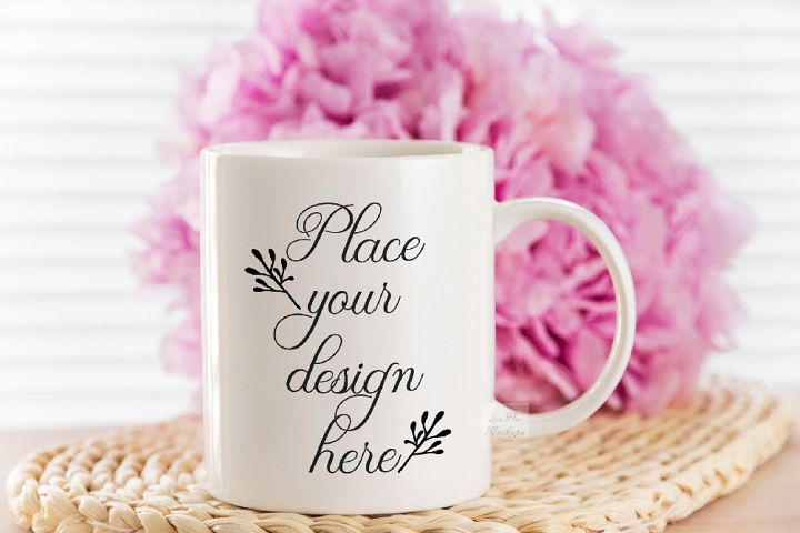 Coffee mug mock wedding spring mug white cup floral mock