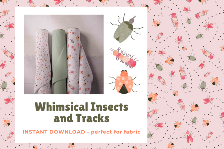 Whimsical Insects and Tracks Fabric DIGITAL