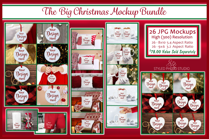 Big Christmas Mockup Bundle, Mug, Ornament, Pillows and More