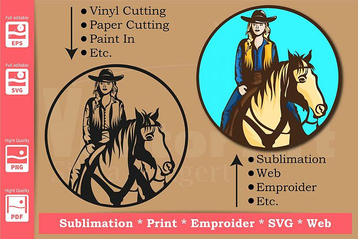 Cowgirl with Horse- Print and Cut