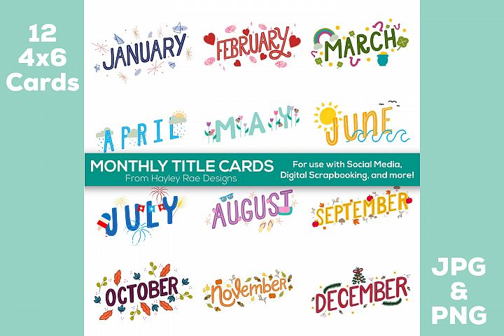 12 Month Title Cards 4x6 for Scrapbooking and Planners