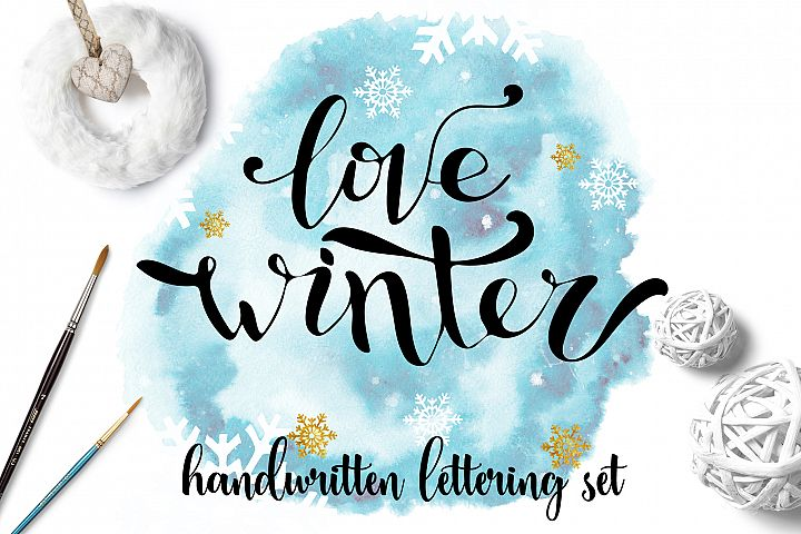 Winter handwritten lettering set