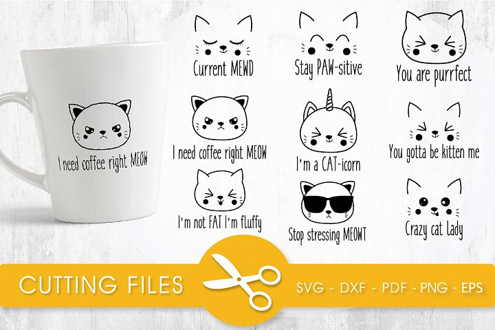 Funny cats bundle cutting files svg, dxf, pdf, eps, png incl