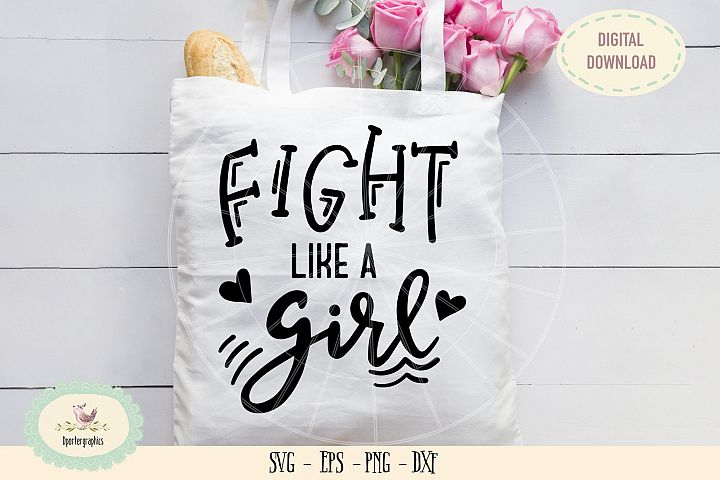Fight like a girl SVG PNG hand drawn