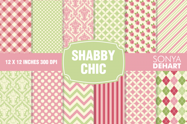 Shabby Chic Digital Paper Pattern Pack