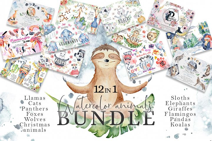 Watercolor animals BUNDLE