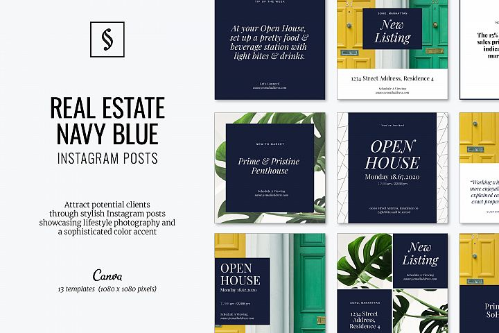 Canva Instagram Posts for Real Estate - Navy Blue
