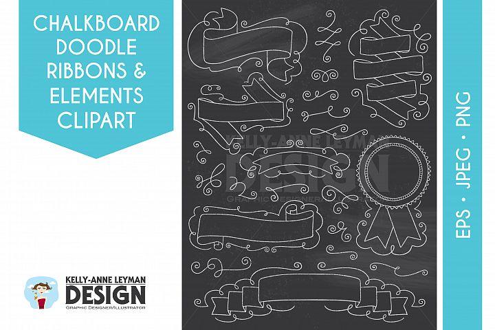 Chalkboard Doodle Digital Ribbons clipart, Digital Banner