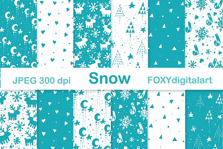 Digital paper Christmas tree reindeer snow flakes holiday