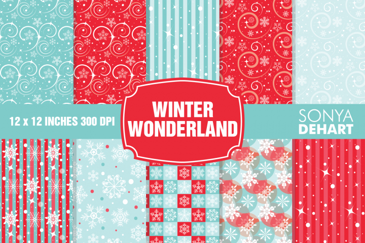 Winter Wonderland Christmas Digital Paper Pattern Pack