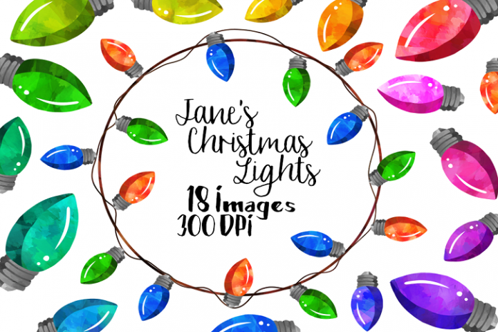 Watercolor Christmas Lights Clipart