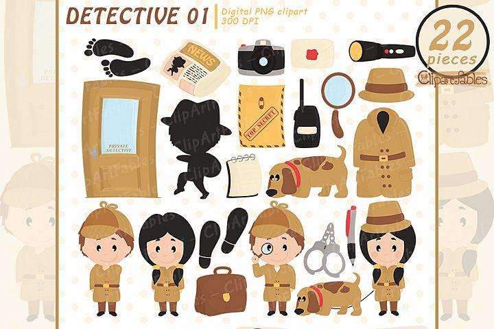 cute detective clipart, Investigation, Secret agent -INSTANT