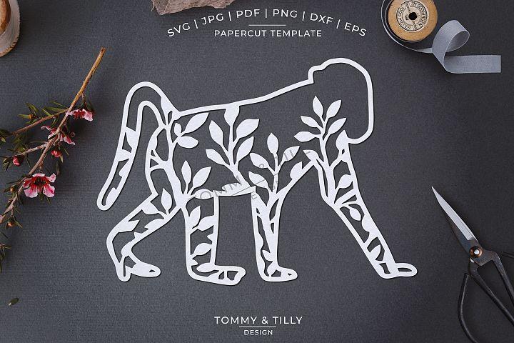 Foliage Monkey x 3 - Papercut Template SVG EPS DXF PNG