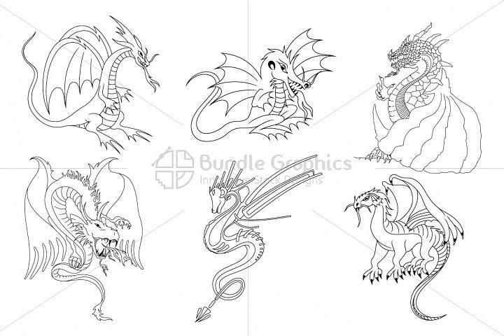 Fictional Dragons Linear Black Vector Set