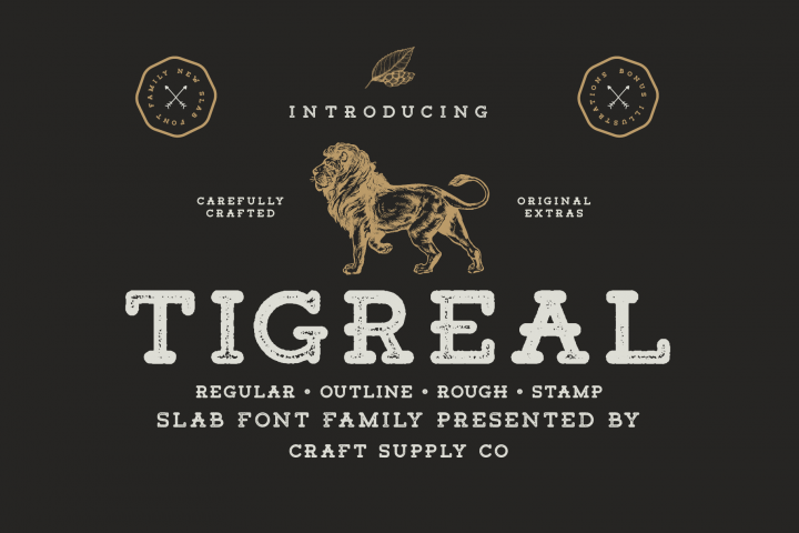 Tigreal Font Family BONUS Illustrations