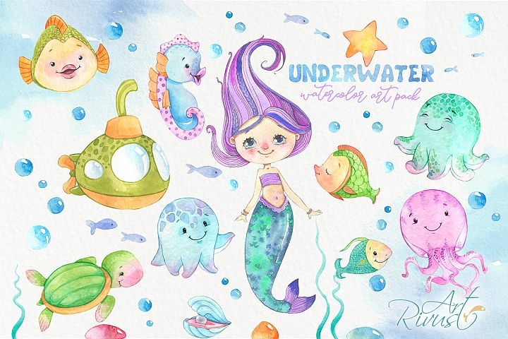 Mermaid and Underwater friends PNG watercolor clipart pack