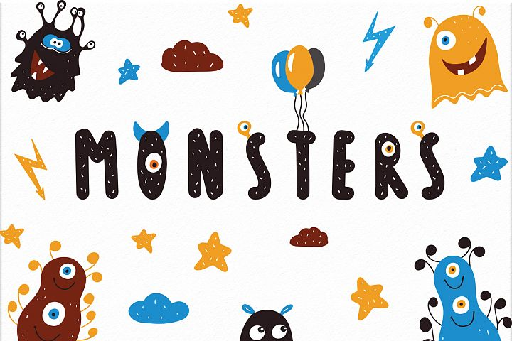 Monsters party Cute baby nursery vector illustrations