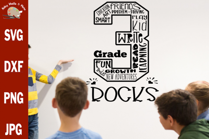3rd grade rocks svg first day of 3rd grade shirts svg dxf