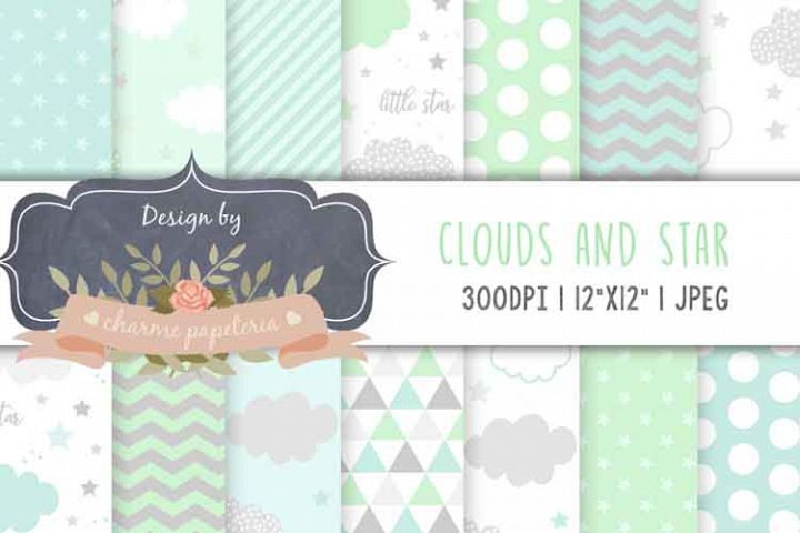 Clouds paper, Mint and blue digital papers, gray and mint pa