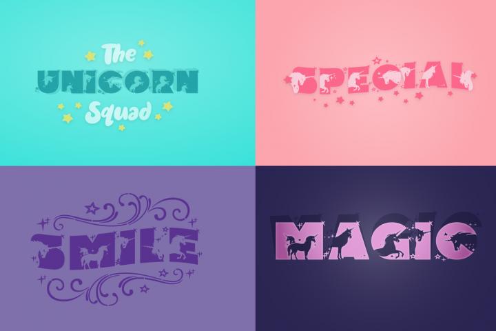 Unicorn Smiles Layered Font plus Bonus Files | Unicorn Font example image 6