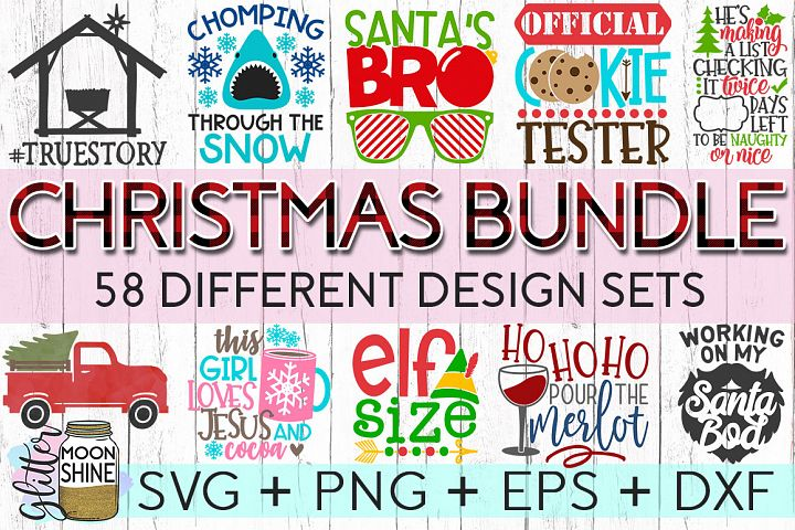 Giant Christmas Bundle of 58 SVG DXF PNG EPS Cutting Files