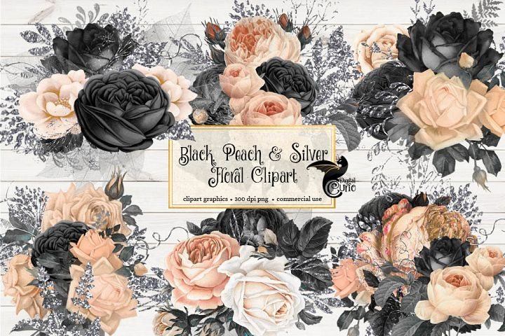 Black Peach and Silver Floral Clipart