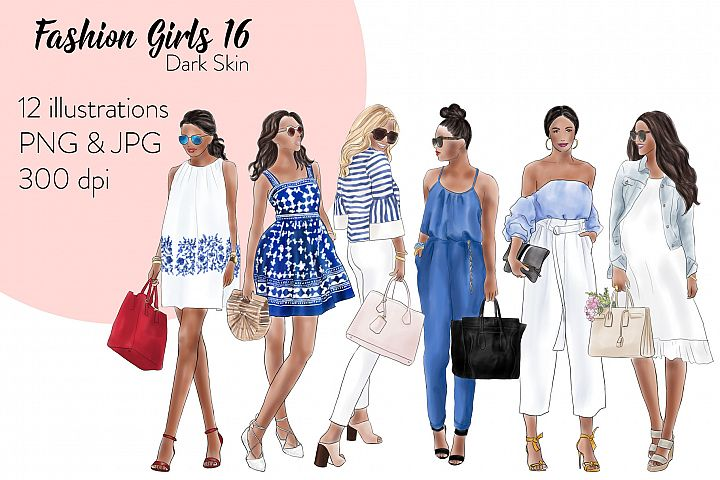 Fashion illustration clipart - Fashion Girls 16 - Dark Skin
