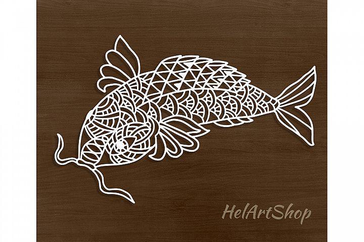 Zentangle catfish digital file. Mandala fish.