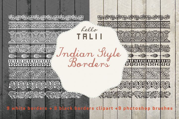 Indian Style Borders Clip Art and PS Brushes