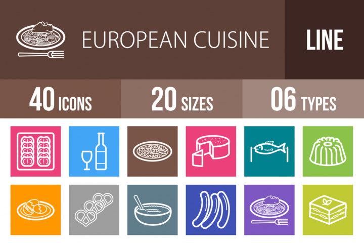 40 European Cuisine Line Multicolor B/G Icons