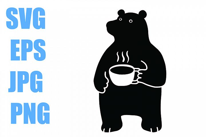 Bear with Coffee Cup- SVG EPS JPG PNG