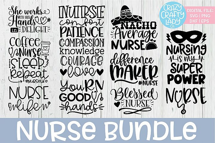 Nurse SVG DXF EPS PNG Cut File Bundle