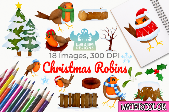 Christmas Robins Watercolor Clipart, Instant Download